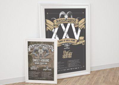 Plakaty tras koncertowych dla zespołu Corruption